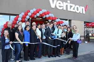 Cellular Sales's ribbon-cutting ceremony at Thornton store.