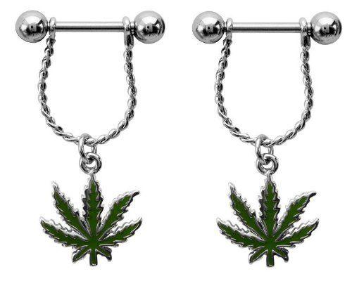 Body Accentz 174 Nipple Ring Bars Marijuana Pot Leaf Body