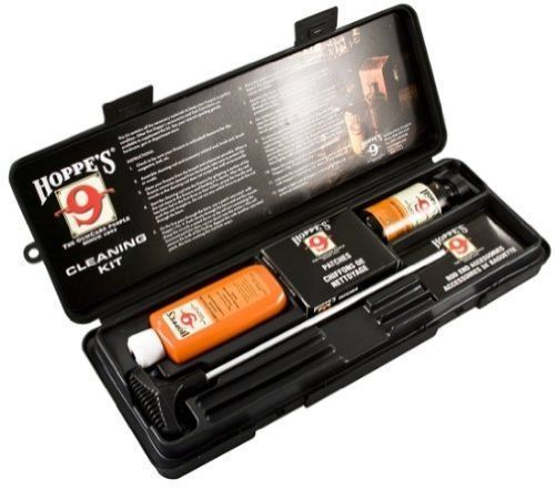 Gun Cleaning Kit Hoppe's 38 357 Caliber 9mm Pistol Aluminum Rod Oil Solvent Box #GunCleaningKit