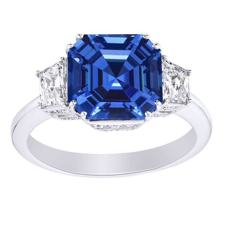 3.38 Ct Blue Sapphire & D/VVS1 18K White Gold Three Stone Engagement Ring #AffinityFashionJewelry #ThreeStone #EngagementWeddingAnniversaryPromiseValentine