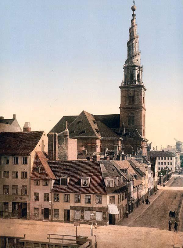 picture of Saviour Church, Copenhagen, Denmark. This color photochrome print was created between 1890 and 1900 in Copenhagen, Denmark