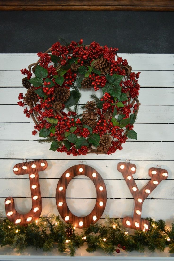 Show off your Christmas joy by using marquee letters on your mantel.
