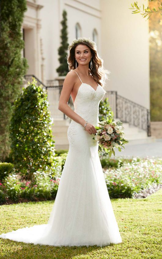 6308 Sheath Wedding Dress with Low Back by Essense of Australia