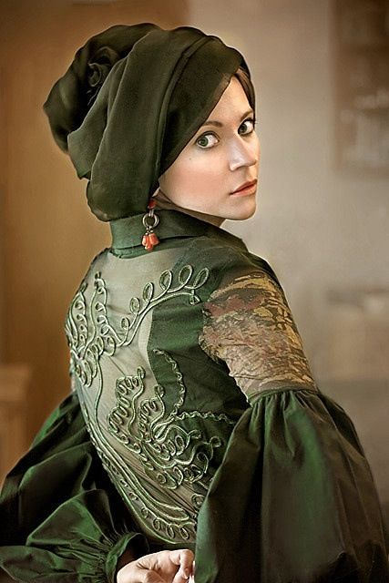 Olive Green Dress with Cornely Embroidery on Bodice Back, Gathered Ruffles at Elbows, & Matching Turban-style Hat ....