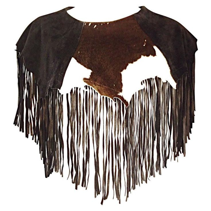 Amazing Vintage Ricky Nell Leather   Suede   Cow Hide Fringed Boho Bib Collar  | From a collection of rare vintage shirts at https://www.1stdibs.com/fashion/clothing/shirts/