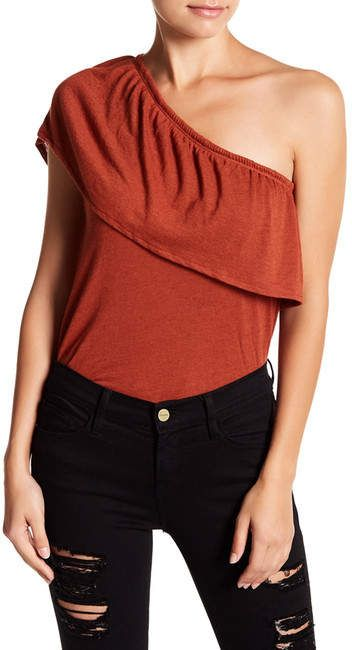 9ee7e3015d3 Melrose and Market One Shoulder Ruffle Sleeve Linen Blend Blouse (Petite)