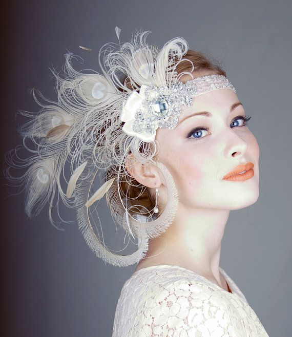 Peacock Wedding - Ivory Peacock Feather Flapper Headband #2171276 ...