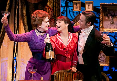 Victoria Clark as Mamita, Vanessa Hudgens as Gigi and Corey Cott as Gaston Lachaille in the new Broadway production of GIGI.
