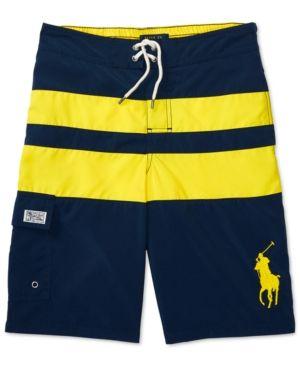 Ralph Lauren Board Shorts, Big Boys (8-20) - Quad Stripe XL