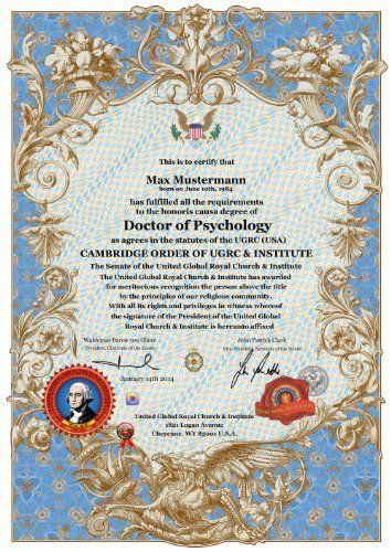 ✰ CAMBRIDGE DOKTORTITEL OHNE STUDIUM ✰ Doctor of Psychology Ehrendoktor h.c. ✰ PROFESSOR DOCTOR HONORARY DEGREE CERTIFICATE CAMBRIDGE OXFORD HARVARD DIPLOMA ✰ Doktor der Psychologie ✰ Prof. h.c., Dr.-Titel., Dr.- Ing., Doktor. h.c. Urkunde ✰ ✰ ADELSBUND & UGRC INSTITUTE ✰ http://www.amazon.de/dp/B00G9COIQ0/ref=cm_sw_r_pi_dp_Eg9Vtb1JH5XJ4F5C