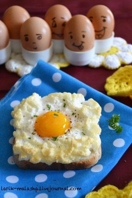 """... или""""Пушистые"""" яйца. Любите ли вы яйца всмятку или яйца-пашот? Я очень люблю! Особенно мы любим макать жареный тост с маслом в жидкий желток, это такое…"""
