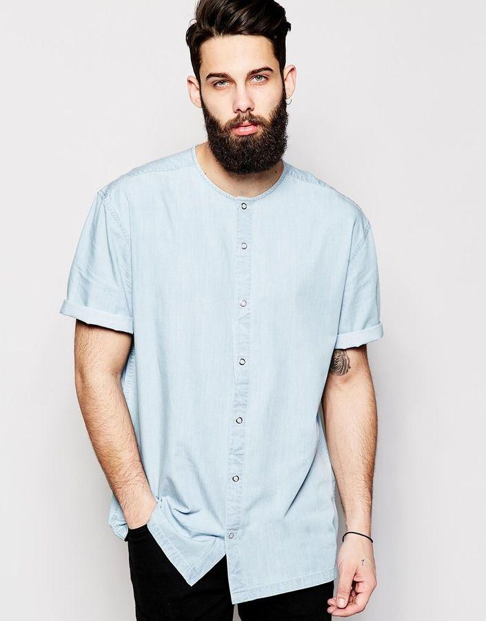 ASOS BRAND ASOS Collarless Oversized Shirt in Short Sleeve With Drape