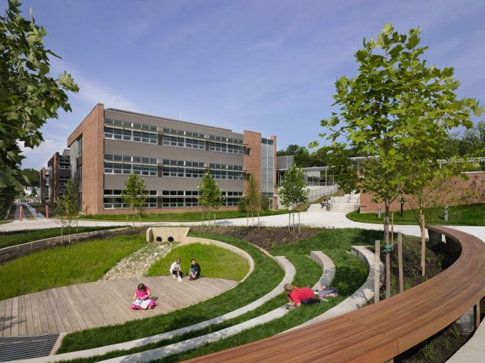 DESIGN FOR PLAY [GREEN INFRASTRUCTURE] Integrated learning spaces - amphitheatre, wooden stage and bioretention garden [Manassas Park Elementary School, USA]