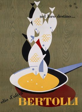 Erberto Carboni, ads for Bertolli olive oil and egg pasta Barilla. early 1950s
