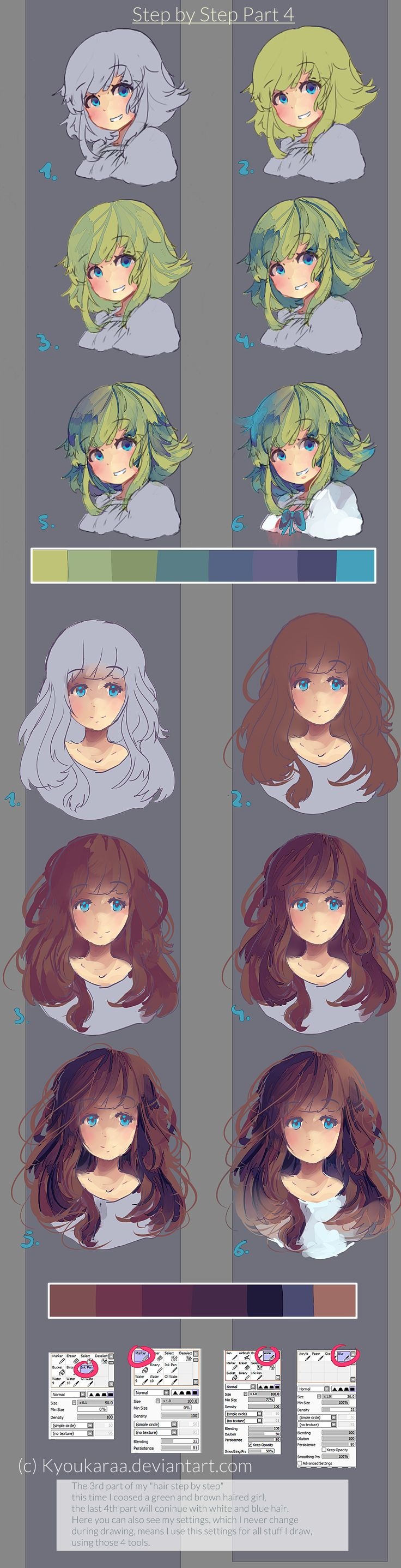 Step by Step Hair Part 3 by KyouKaraa on deviantART