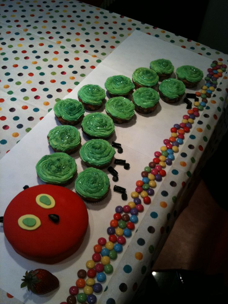 Hungry caterpillar cup cakes
