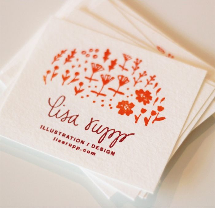 lisa rupp: business cards the simple illustration in one colour looks considered and more delicate