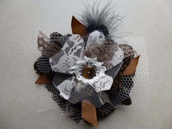 Glam Garb Fabric Flower Brooch Pin Espresso Chocolate Brown Wool Lace Tulle Handmade USA Romantic Victorian Steampunk Vintage Up-cycled OOAK www.glamgarb.com www.etsy.com/shop/glamgarb