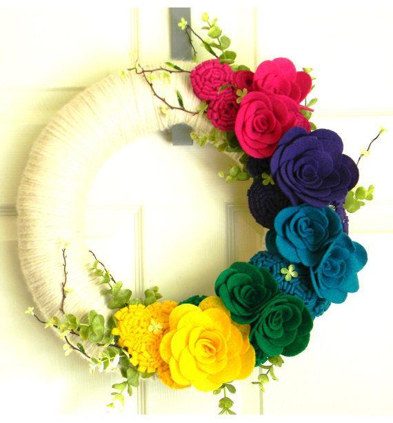 Jewel Blooms 14 inch Felt and Yarn Wreath by EllaBellaMaeDesigns
