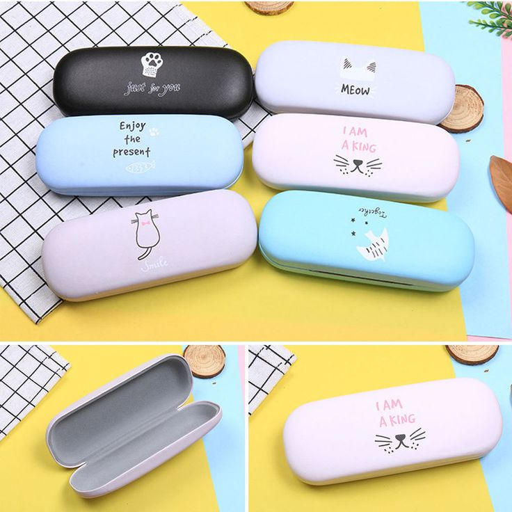 Cute Cartoon Glasses Box Eyeglasses Case Hard Protector Faux Leather Cats Fish #Unbranded