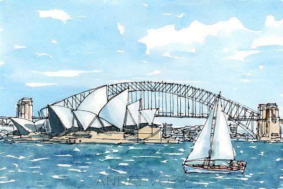 Sydney Australia art print from an original watercolor ...
