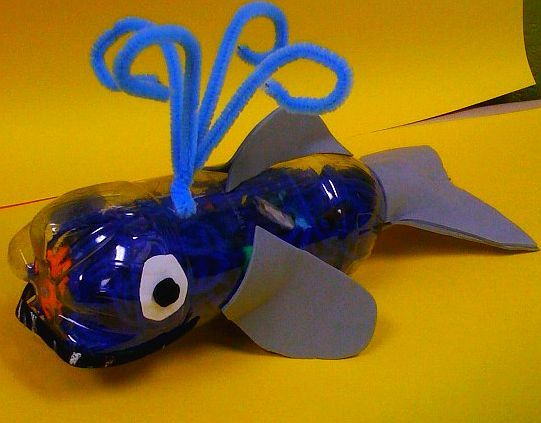 Jonah I Spy - Whale made out of plastic water bottle.