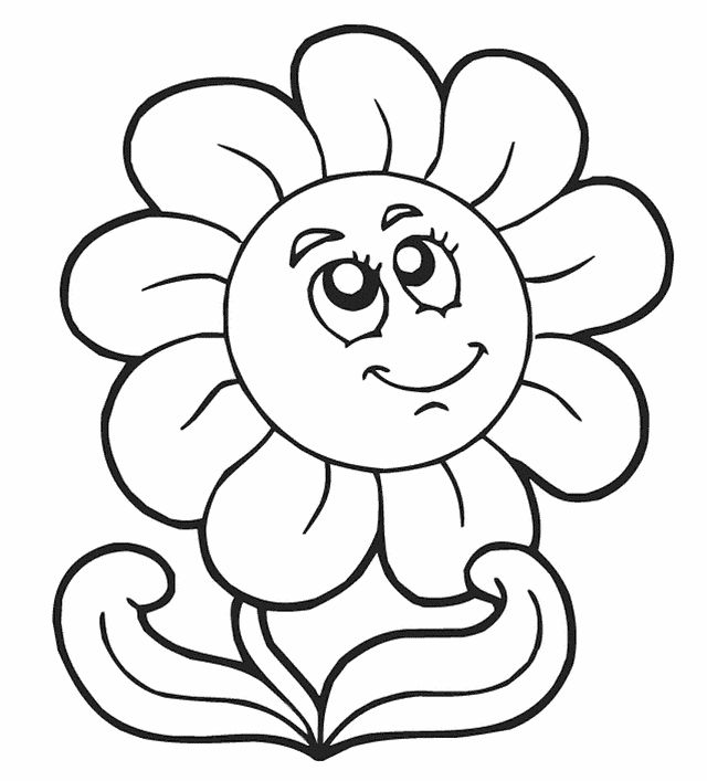 free printable flower coloring pages free printable coloring pages for kids flowers pictures 3 preschool - Preschool Coloring Sheets Printable