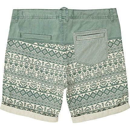 Green aztec print shorts - shorts - sale - men The pocket pattern is too much for me but I still like them