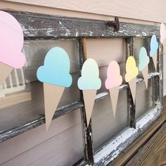 Ombre pastel ice cream cone garland! Summer Ice Cream Themed Baby's First Birthday party! https://www.etsy.com/listing/288444895/baby-clothes-baby-girl-clothes-baby-boy?ref=shop_home_active_8