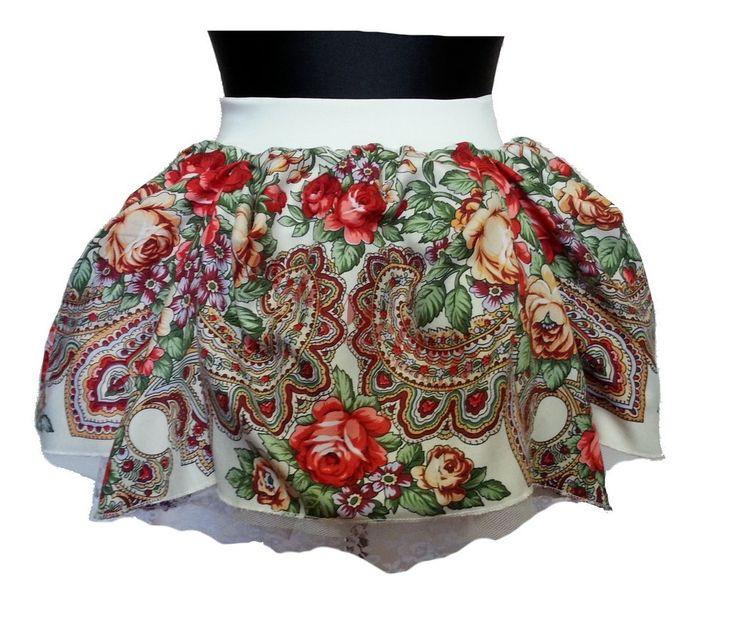 Spódnica Słowianka S8 szyta na miarę Spódnica ma 3 warstwy: -podszewkę z koronką, -tiul, -tkaninę poliestrową w góralskie wzory. Całość jest na szerokiej gumie :)
