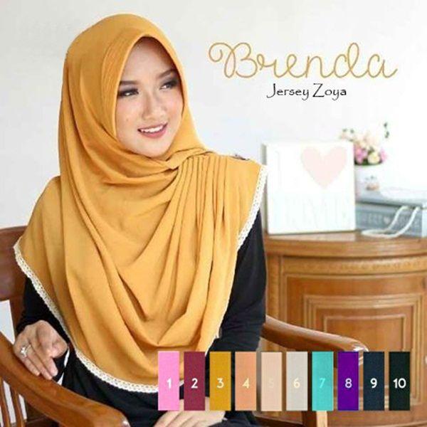 Jilbab Instan Brenda Trend Fashion Hijab 2017 Terbaru dengan bahan jersey zoya sehingga tidak mudah kusut, mudah dibentuk, tidak panas dan tidak menerawang