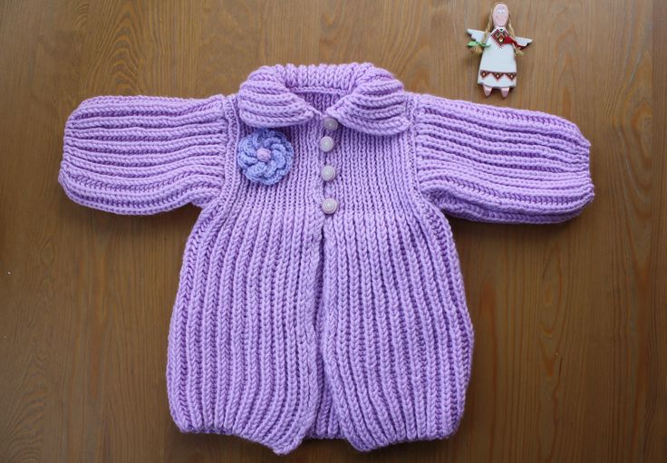 BABY CARDIGAN, Hand-Knitted Baby Cardigan, Lilac Cardigan, Baby Size For 3-6 Months, Handmade Cardigan, Babygirl Gift, Cardigan with Flower