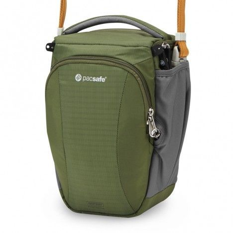 Camsafe® V6 anti-theft camera top loader bag: This cross body, toploader bag comfortably fits a DSLR and makes for the perfect outdoor travel companion. #pacsafe #camsafe #camera #toploader #adventure