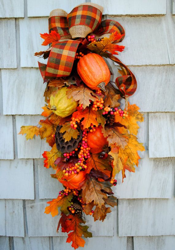 Fall Wreath Swag Autumn Harvest Wreath For The Door Sale Floral And  Pinecone Double Layered Burlap Bow Thanksgiving Wreath