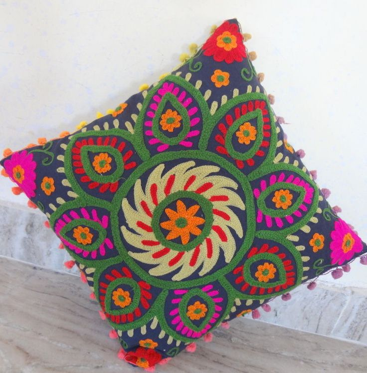 Vintage Suzani Cushion Cover Embroidered 16x16'' Indian  Pillow Case Decorative #Handmade