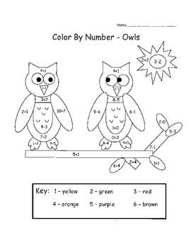 color by numbers owl birthday cakes and addition and subtraction on pinterest. Black Bedroom Furniture Sets. Home Design Ideas