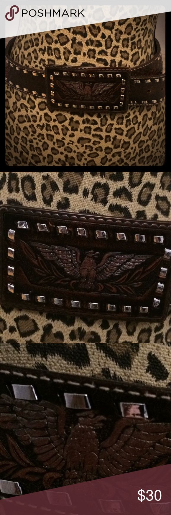 Western style belt with studs Super soft western style belt with eagles brown leather with green flowers and eagle silver studs and rectangle buckle  Buckle is 4 .5 x 2.5 inches Accessories Belts