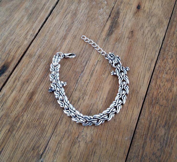 PULSEIRA DRAGÃO METAL - ajustável <br>pulseira de metal com detalhes em cabeça e rabo de Dragão
