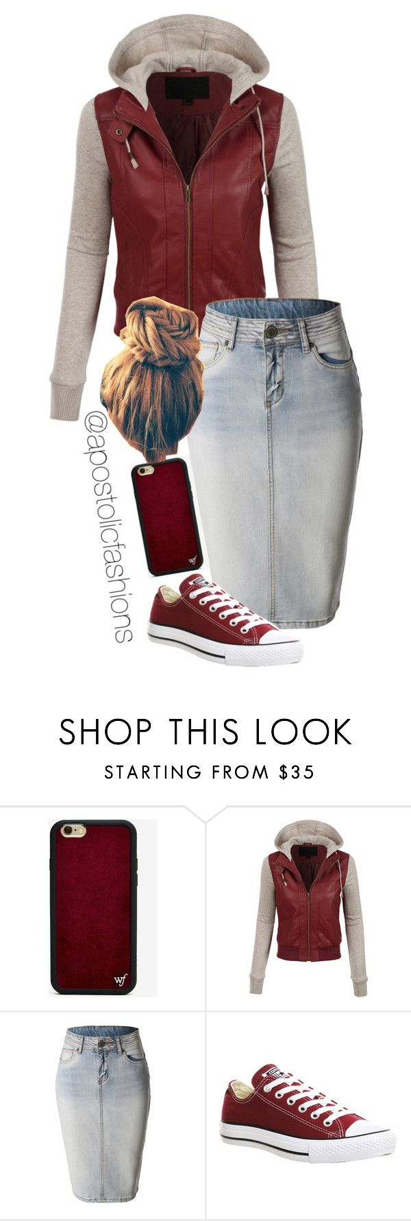 """""""Apostolic Fashions #975"""" by apostolicfashions on Polyvore featuring Wildflower, LE3NO and Converse"""