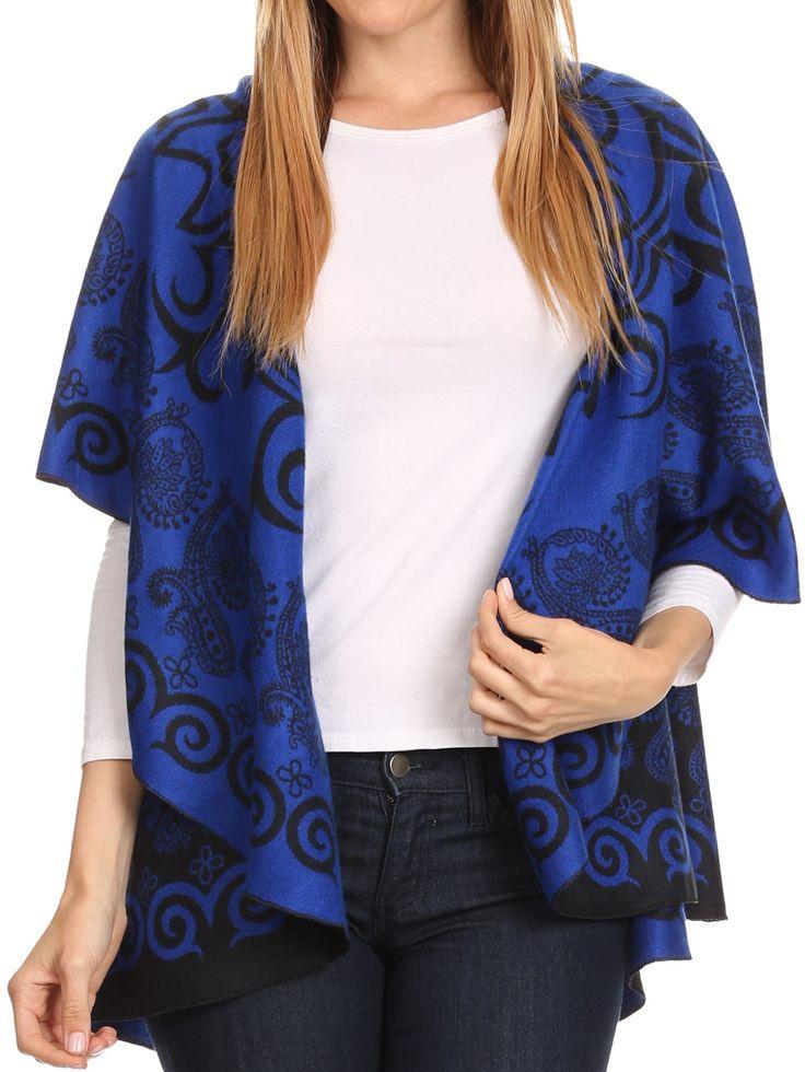 Sakkas Balie Reversable Printed Mid Weight Warm Poncho Throw Shawl / Cardigan