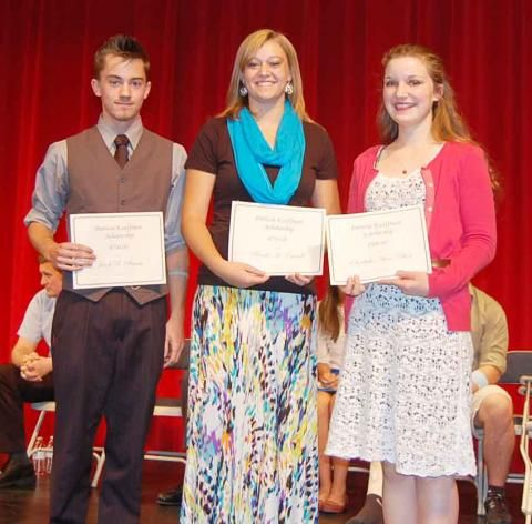 Patricia J. Kauffman NHS Scholarship recipients: Jacob Simmons, Brooke Caswell, Elizabeth Elliott