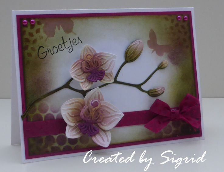 Card by DT member Sigrid with Collectables Orchids (COL1379) by Marianne Design