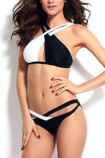 Cross Wrap Contrast Triangle Bikini Set