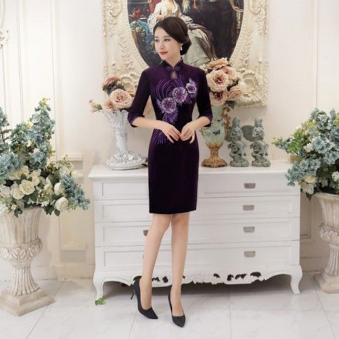 Purple Velour Half Sleeve Tea Length Cheongsam Floral Evening Dress