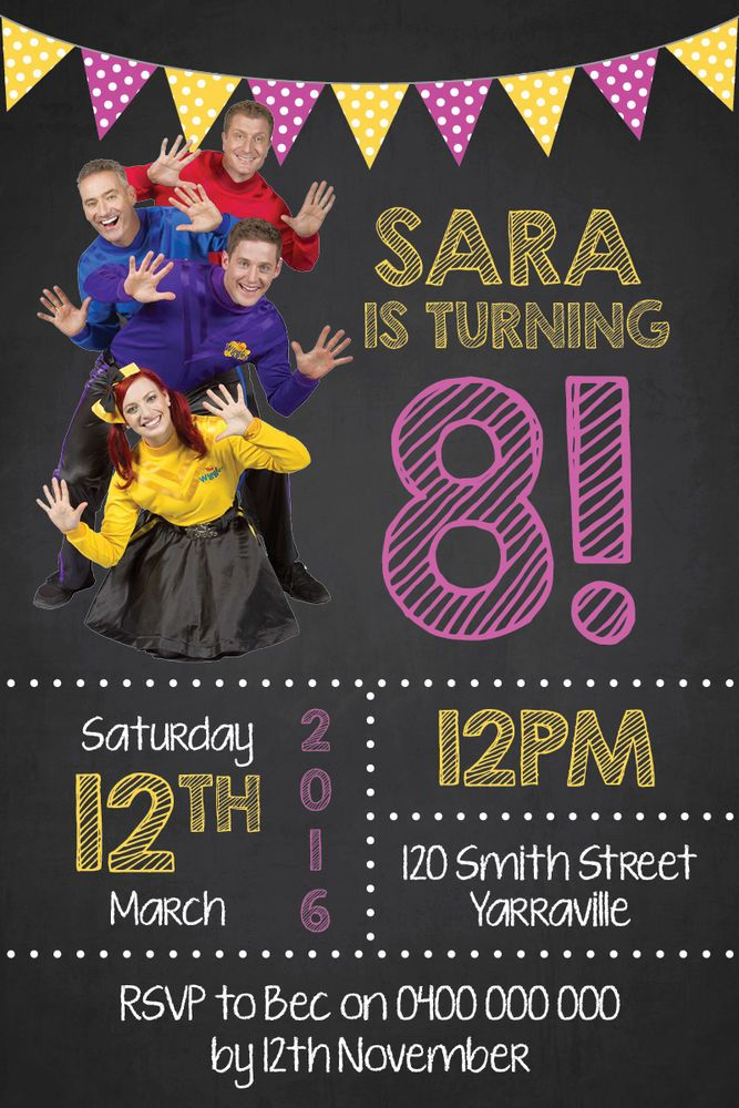 Personalised The Wiggles Birthday Invitations Party Invites   eBay