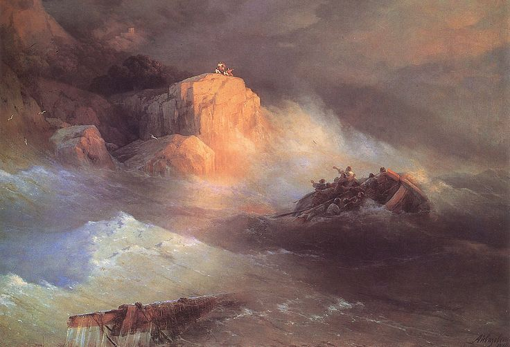 Ivan Konstantinovich Aivazovsky.  Title: Shipwreck, Original Size: 132 x 170 cm, Date: 1876, Location: Feodosia, Aivazovsky Art Gallery - Buy this painting as premium quality canvas art print from Modarty Art Gallery #art, #canvas, #design, #painting, #print, #poster, #decoration