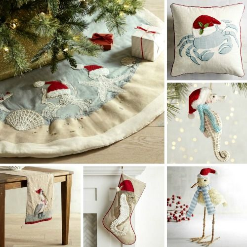 I sea Santa hats everywhere! Christmas decorations with a coastal beach theme...  http://www.completely-coastal.com/2016/12/beach-santa-decorations.html