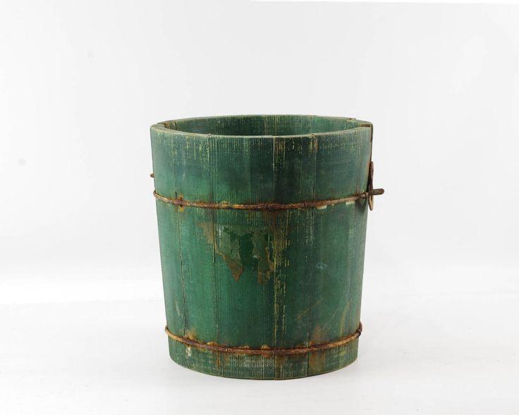 Vintage Green Wooden Bucket, Rustic Farmhouse Decor, Ice Cream Maker Churn Pail by GizmoandHooHa on Etsy