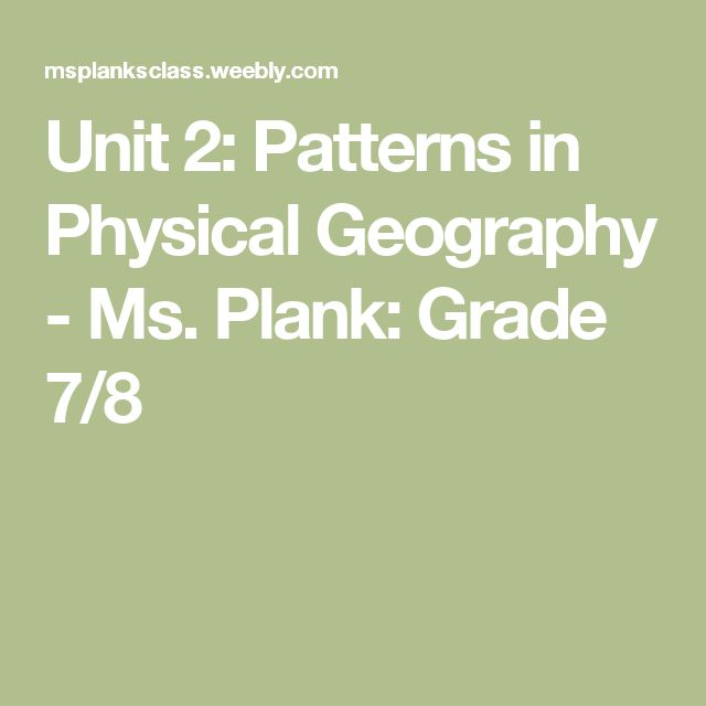 Unit 2: Patterns in Physical Geography - Ms. Plank: Grade 7/8