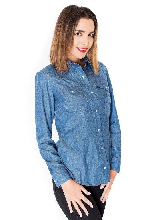 Jeansowa koszula z kołnierzykiem